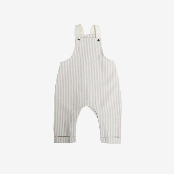 Organic Woven Overalls - Taupe Stripe Canvas