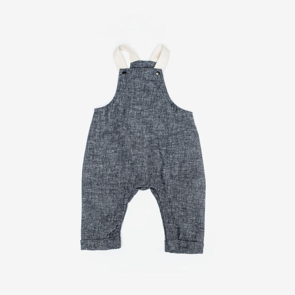 Organic Woven Overalls - Navy Chambray