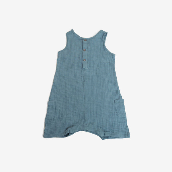 The Bubble Woven Romper - Retro Blue