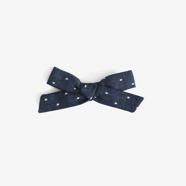 School Girl Hair Bow - Chambray Dot