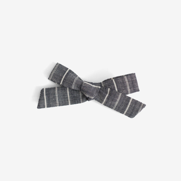 School Girl Hair Bow - Chambray Stripe