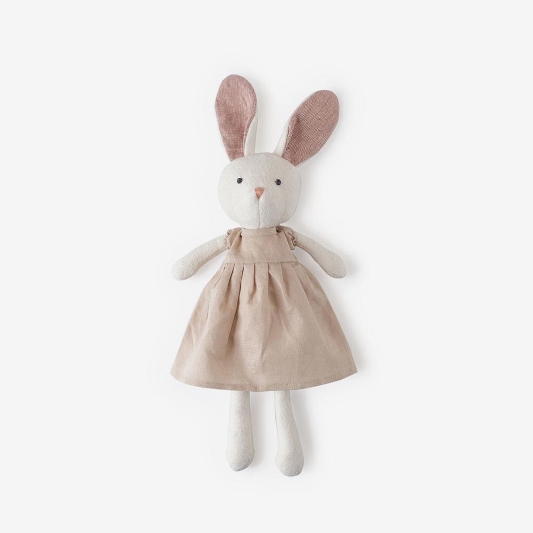Emma Rabbit in Peachy Beige Linen Dress