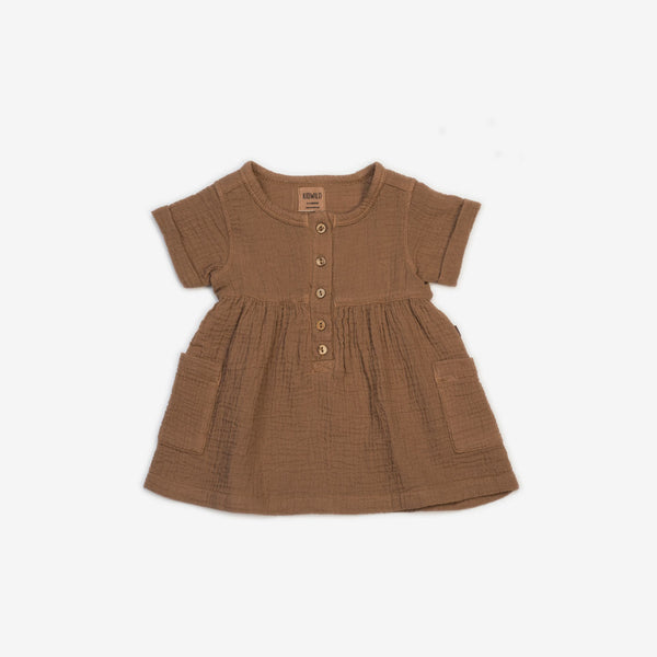 Organic Double Gauze Pocket Dress - Russet