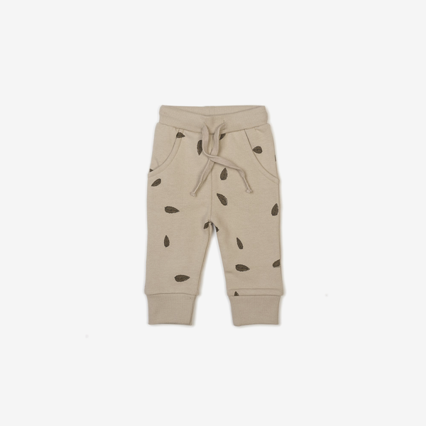 Organic Fleece Joggers - Leaves Oat