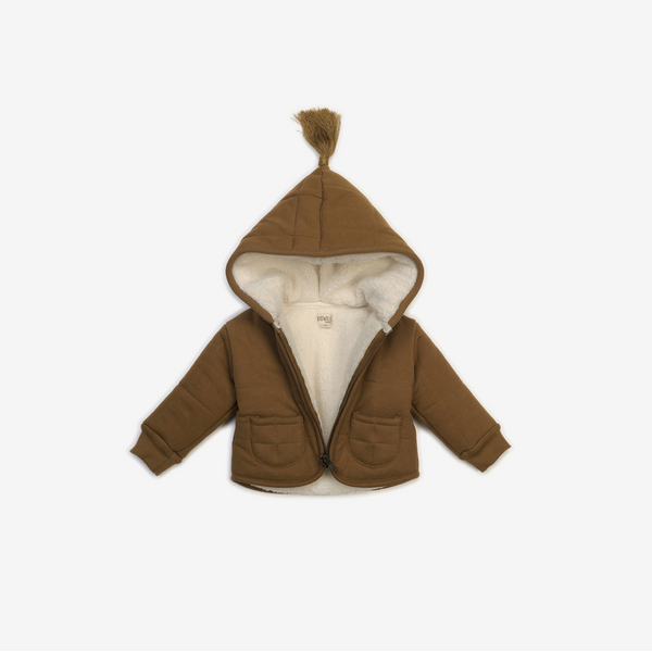 Organic Hooded Baby Jacket - Caramel