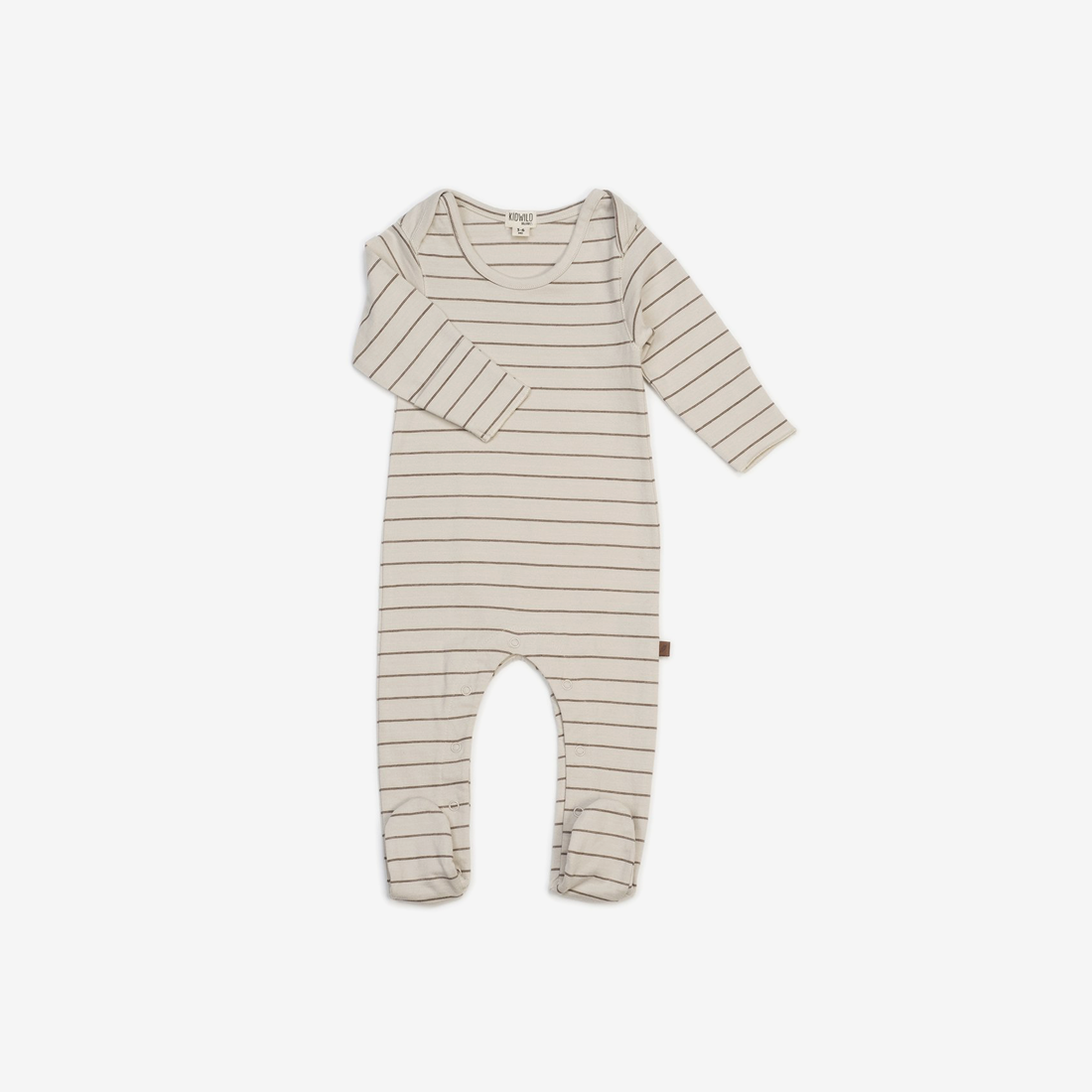 Organic Jersey Footed Jumpsuit - Caramel Stripe
