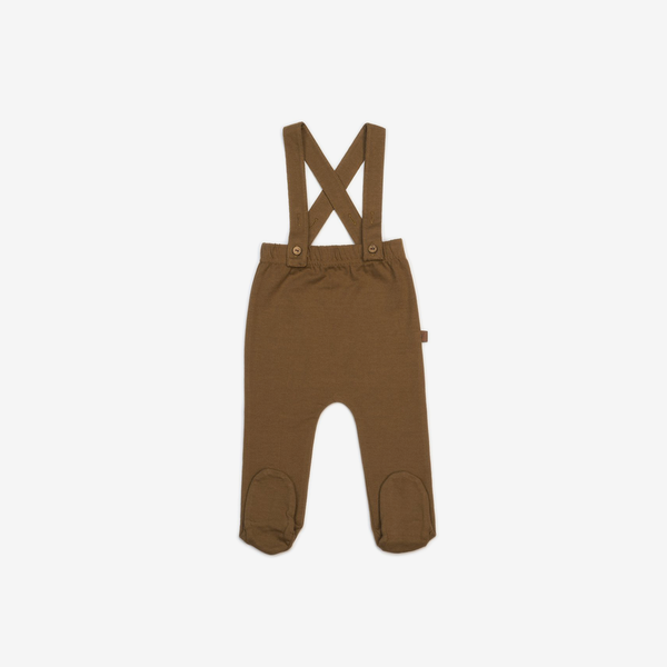 Organic Jersey Footed Suspender Pants - Spice