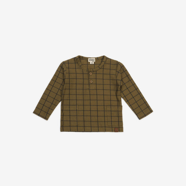 Organic Jersey L/S Henley Top - Grid Spice