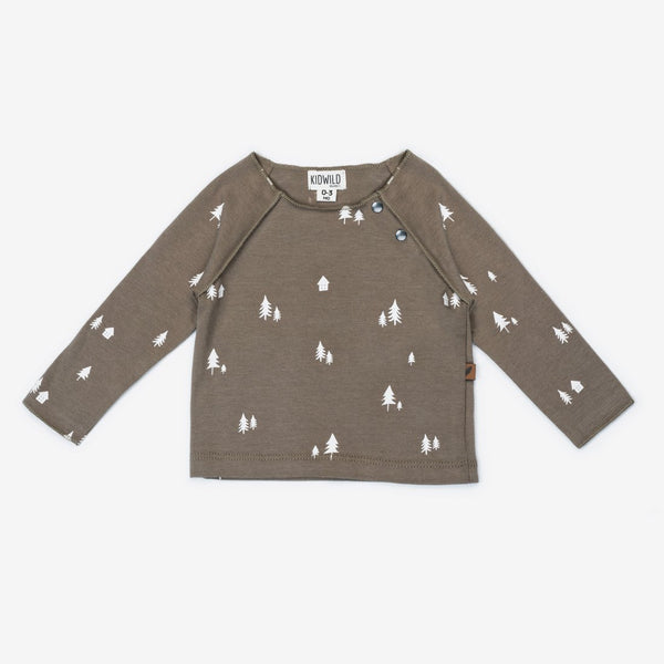 Organic L/S Raw Edge Tee - Woodland