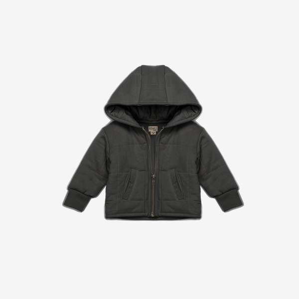 Organic Quilted Hooded Jacket - Storm