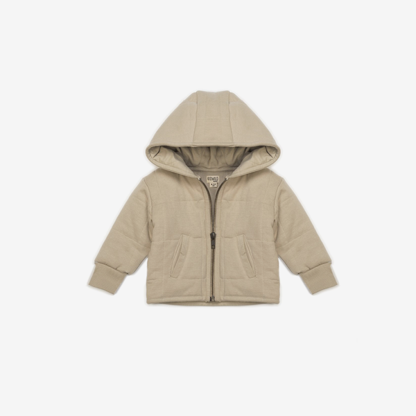 Organic Quilted Hooded Jacket - Oat