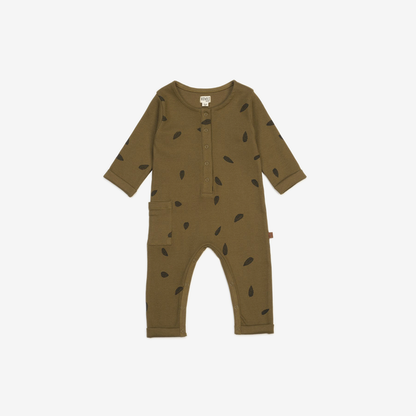 Organic Rib Henley Playsuit - Leaves