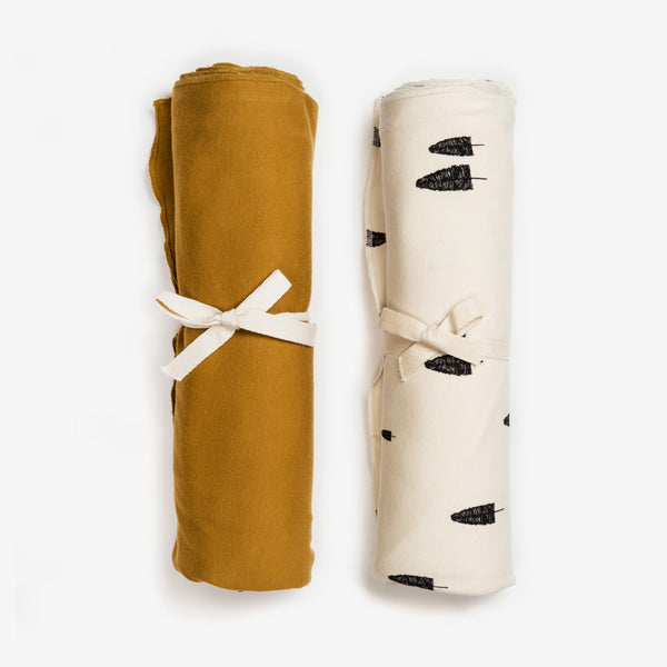 Organic Swaddle Set - Forest/Ochre