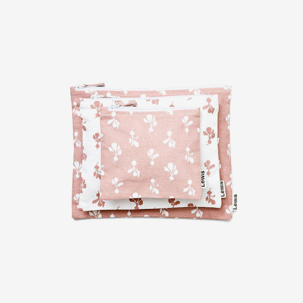 Cotton Zip Pouch Set 3 - Radish Mauve