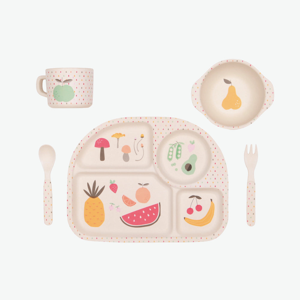 5pc Bamboo Dinnerware Set - Eat Your Greens