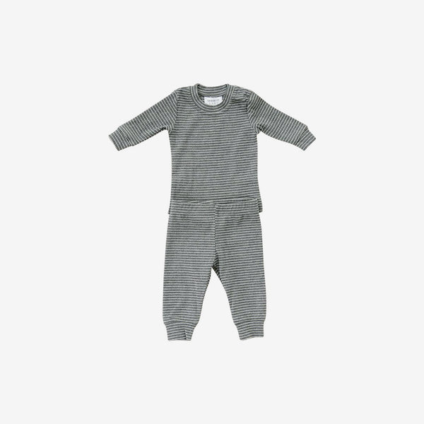 2-Piece Cozy Cotton Rib PJ Set - Grey Stripe