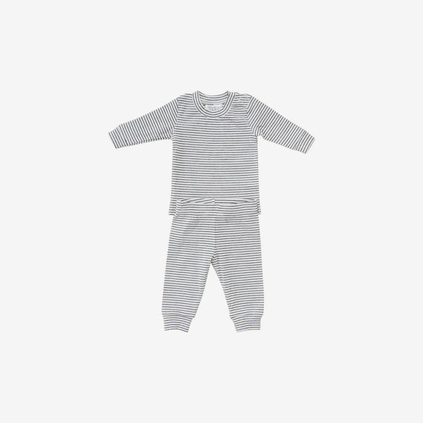 2-Piece Cozy Cotton Rib PJ Set - Black Stripe
