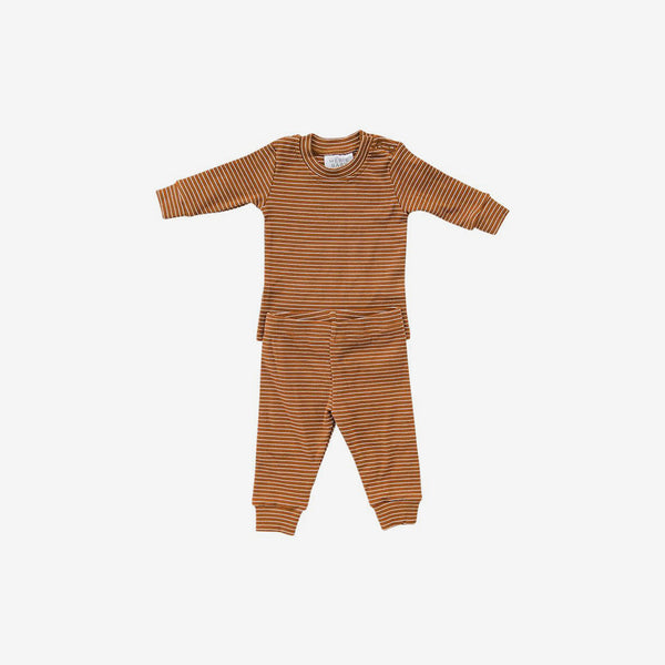 2-Piece Cozy Cotton Rib PJ Set - Rust Stripe