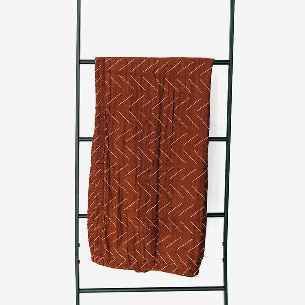Cotton Muslin Quilt - Rust Mudcloth