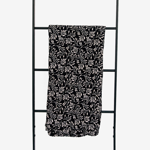 Cotton Muslin Swaddle Blanket - Black Vine