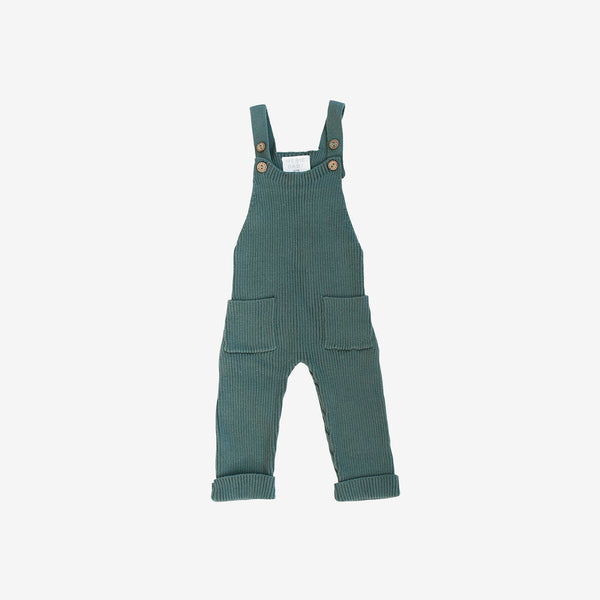 Cotton Rib Knit Overalls - Teal