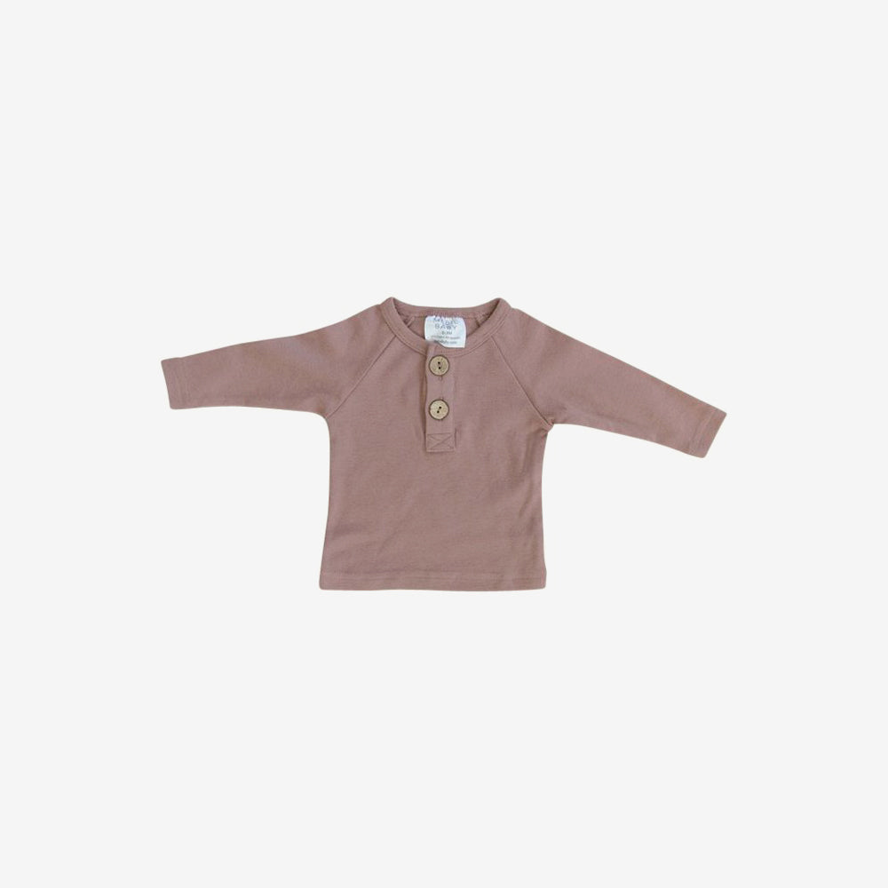 Cotton Henley L/S Top - Blush