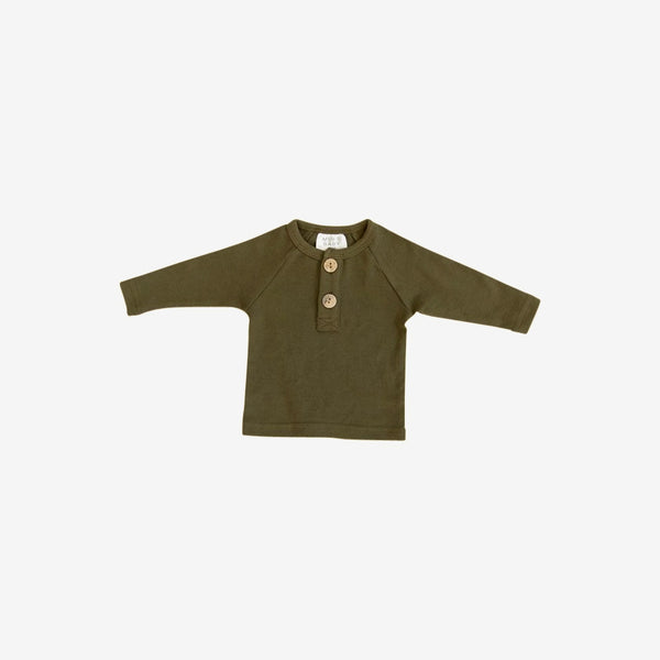 Cotton Henley L/S Top - Olive