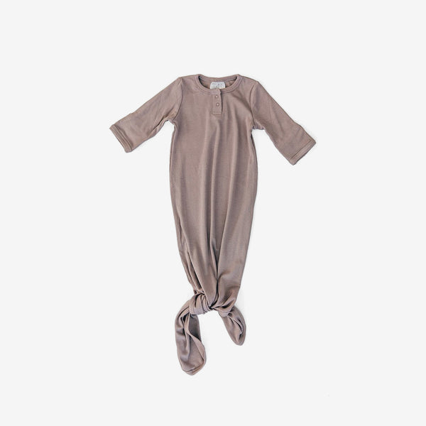 Rayon Knotted Baby Gown - Dusty Plum