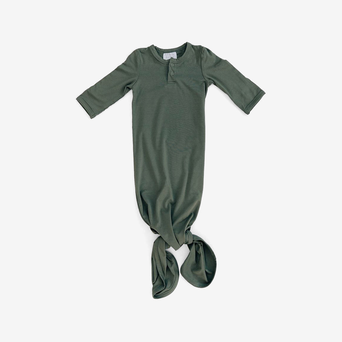 Rayon Knotted Baby Gown - Olive