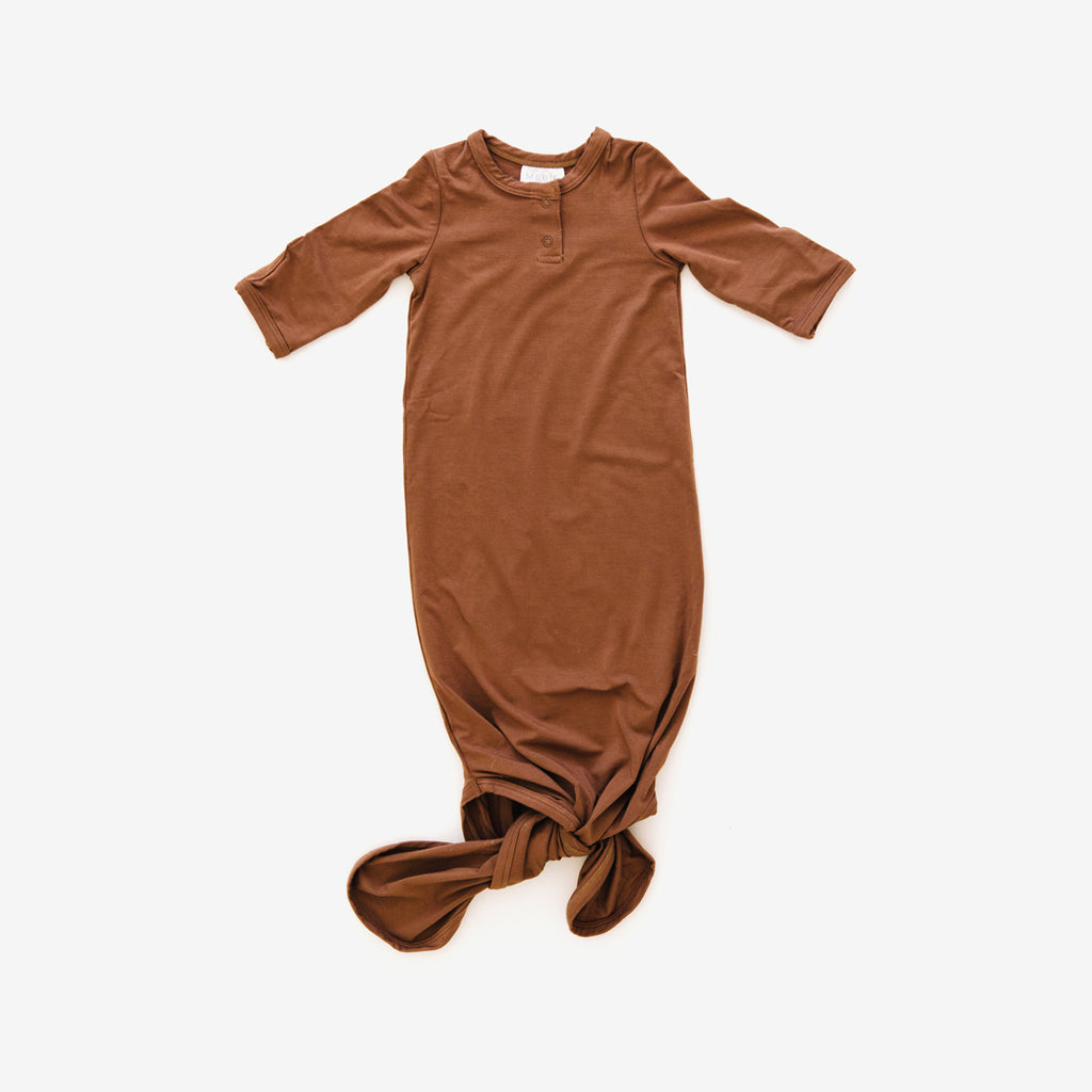Knotted Baby Gown - Rust