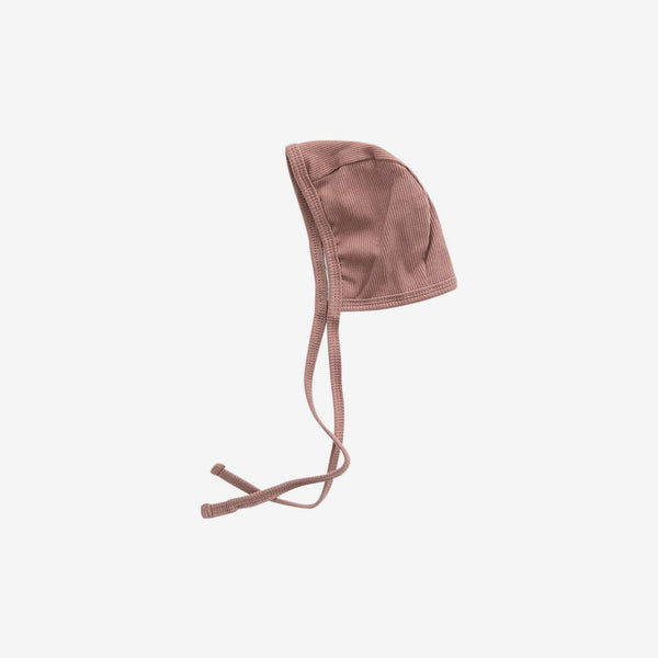 Organic Cotton Rib Bonnet - Dusty Rose