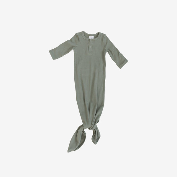 Organic Cotton Rib Knotted Baby Gown - Green