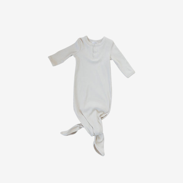 Organic Cotton Rib Knotted Baby Gown - Vanilla