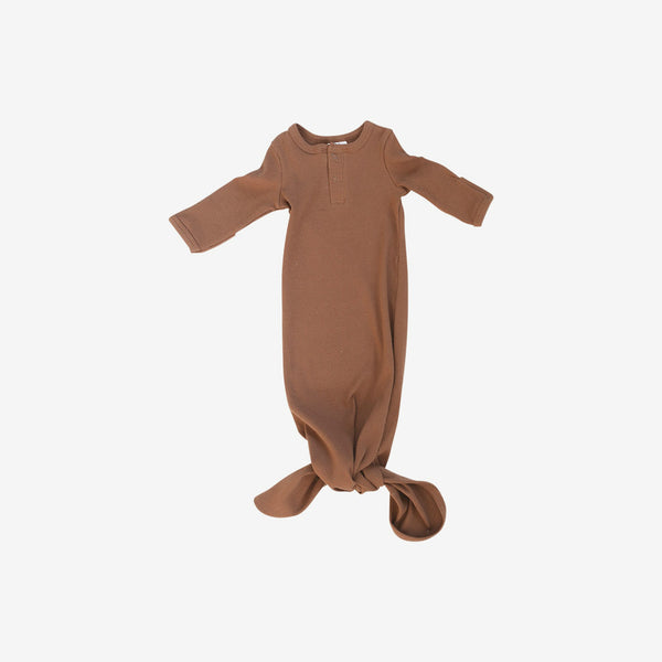 Organic Cotton Rib Knotted Baby Gown - Rust