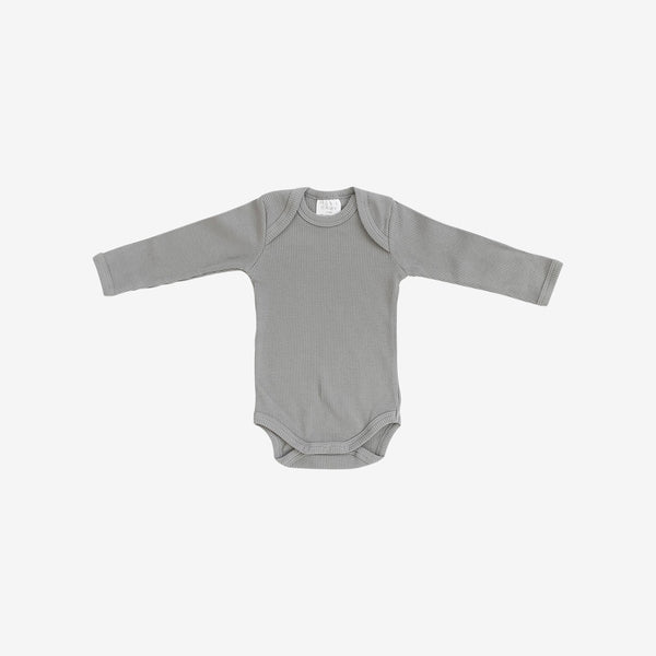 Organic Cotton Rib L/S Bodysuit Onesie - Grey