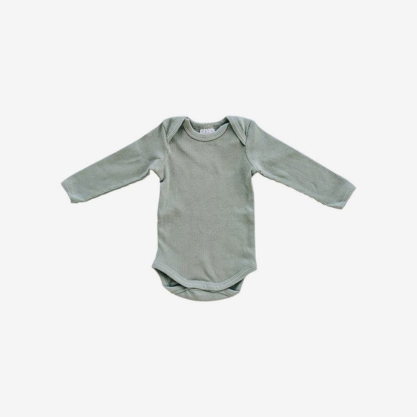 Organic Cotton Rib L/S Bodysuit Onesie - Green