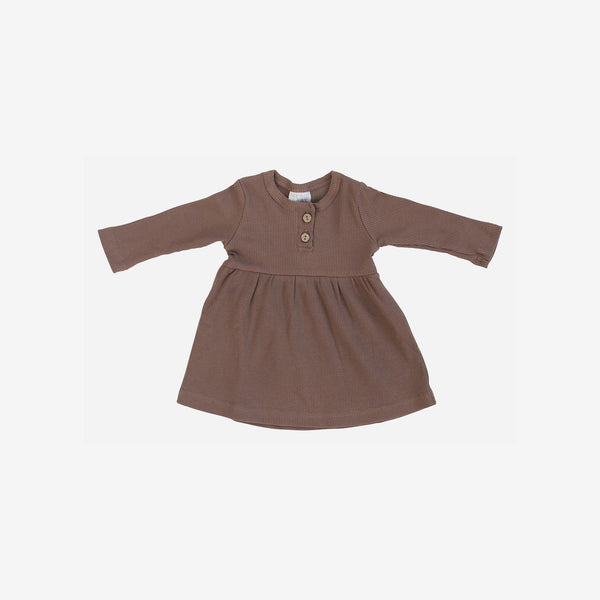 Organic Cotton Rib L/S Button Dress - Plum
