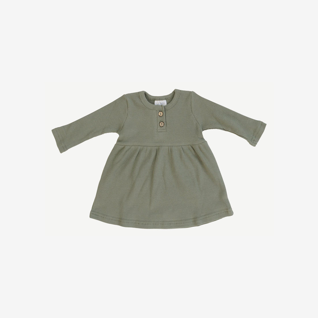 Organic Cotton Rib L/S Button Dress - Green