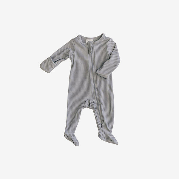 Organic Cotton Rib Zipper Footed One-Piece Romper - Grey