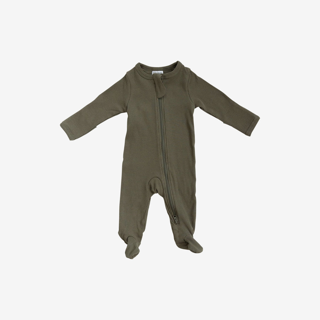 Organic Cotton Rib Zipper Footed One-Piece Romper - Winter Green