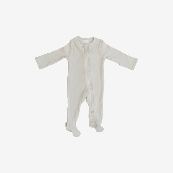 Organic Cotton Rib Zipper Footed One-Piece Romper - Vanilla