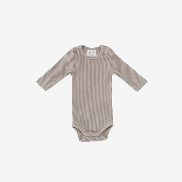 Ribbed Bodysuit Onesie - Taupe