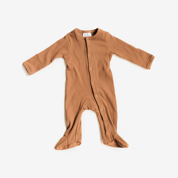 Ribbed Footed One-piece - Camel