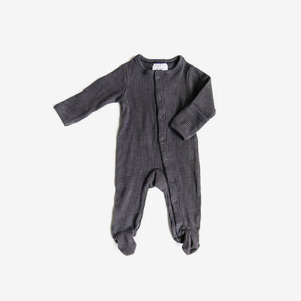 Ribbed Footed One-piece - Steel