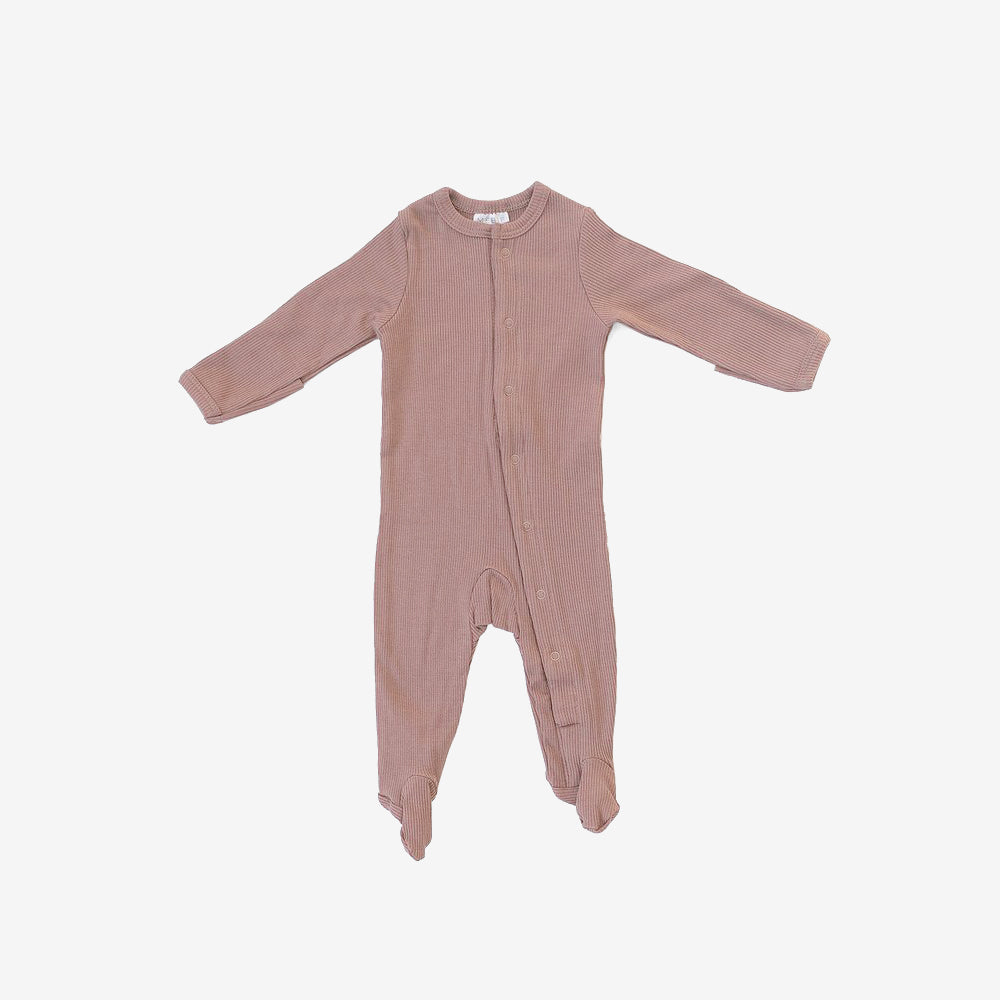 Organic Cotton Rib Snap Footed One-Piece Romper - Dusty Rose