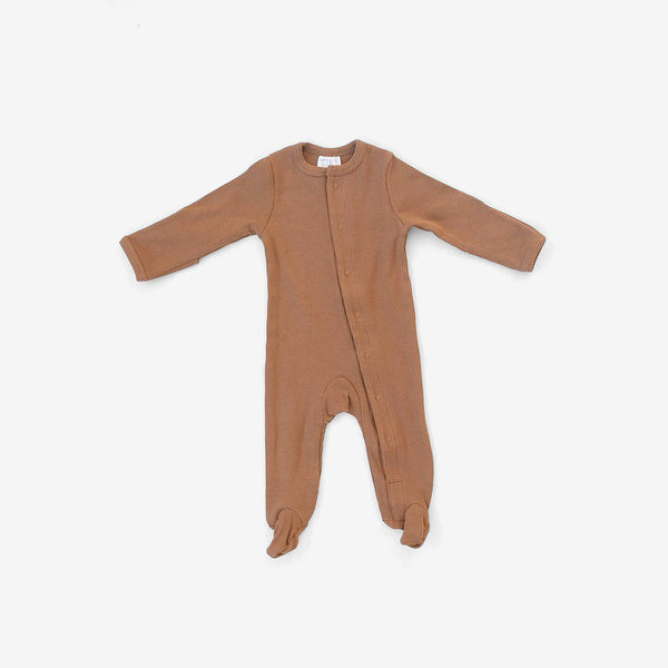 Organic Cotton Rib Snap Footed One-Piece Romper - Mustard