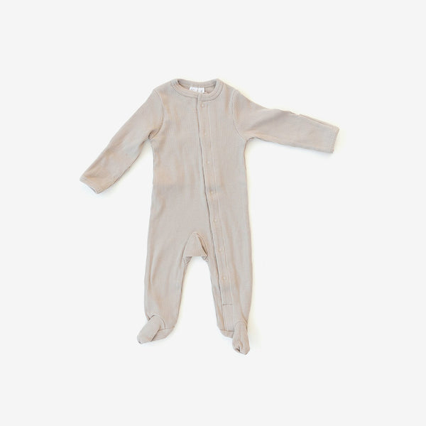 Organic Cotton Rib Snap Footed One-Piece Romper - Oatmeal