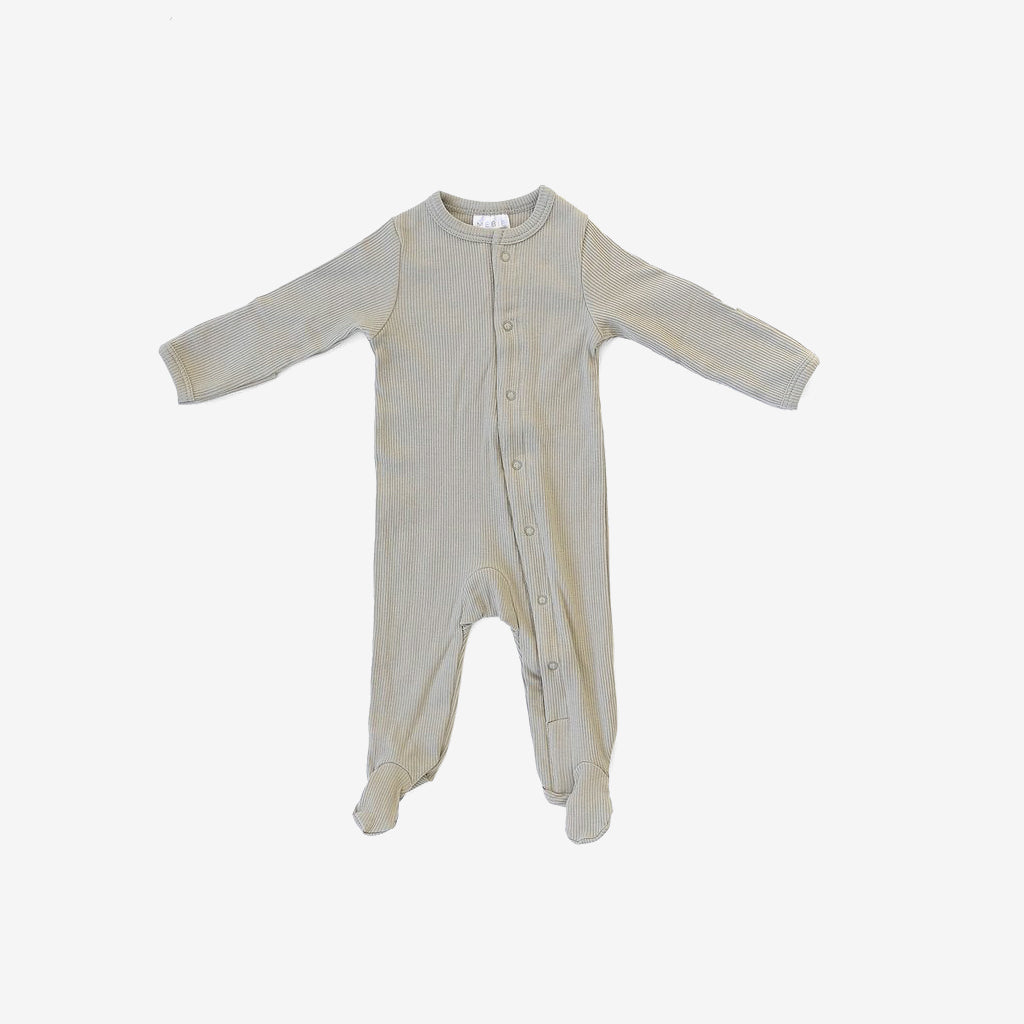 Organic Cotton Rib Snap Footed One-Piece Romper - Sagebrush