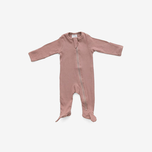Organic Cotton Rib Zipper Footed One-Piece Romper - Dusty Rose