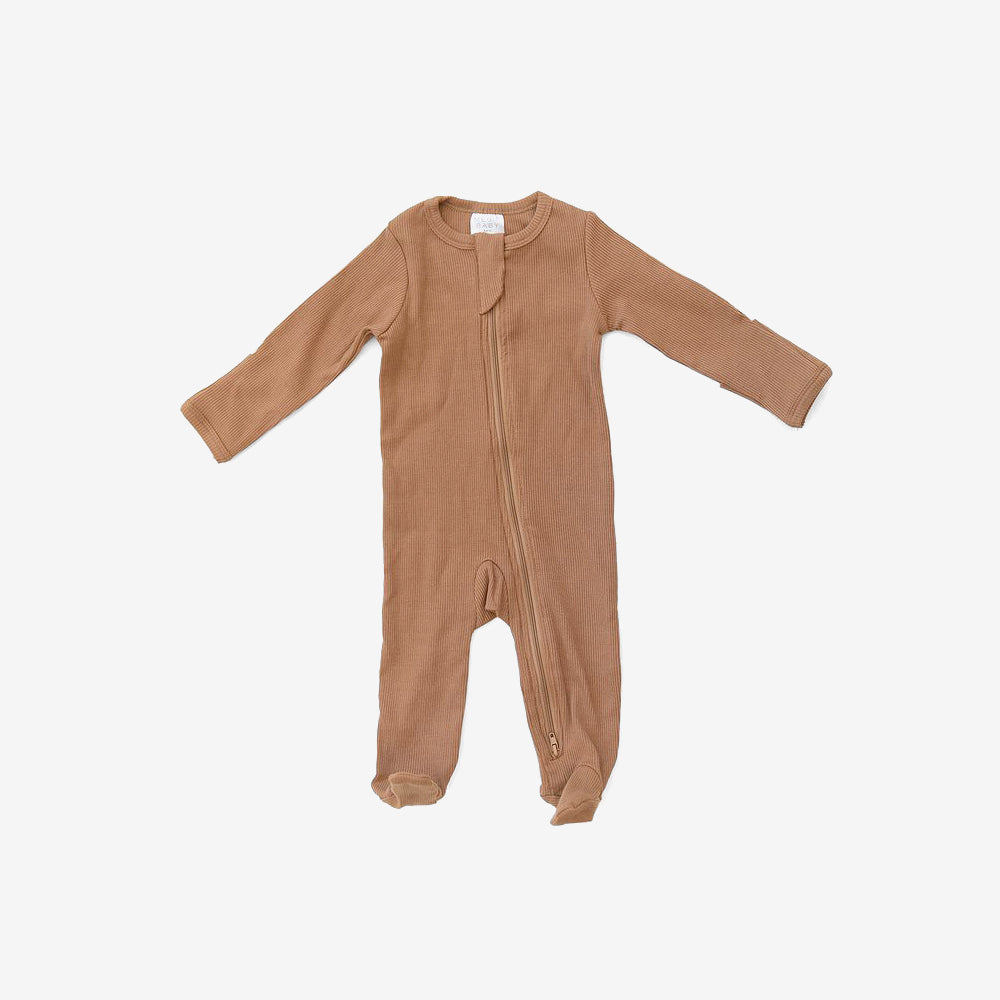 Organic Cotton Rib Zipper Footed One-Piece Romper - Mustard